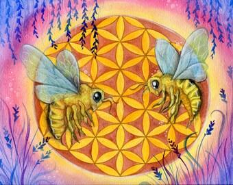 Flower of Life-bee-Mandala-Sacred Geometry-Original watercolor print