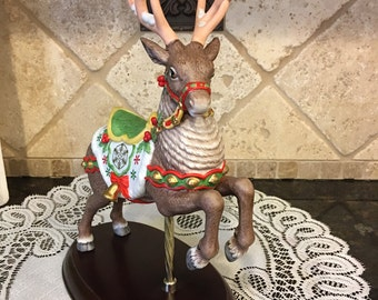 The Carousel Reindeer LENOX 1989 Painted by Hand and Embellished With 24 Karat Gold