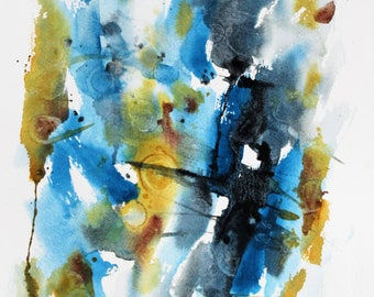 ORIGINAL Abstract watercolor painting, Blue/Green abstract art, wall hanging, home decor