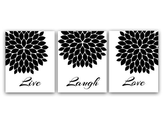 Live Laugh Love Wall Art Printable Wall Art Black And White