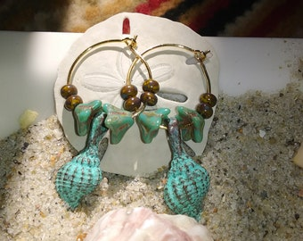 antiqued sea shell earrings
