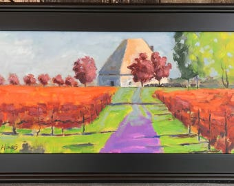 KARMIR VINEYARDS - 12 x 24 - Amador County Winery - Plein Air - Original Oil Painting - Fall - Trees - Northern California Landscape - Art