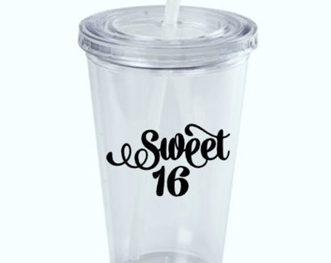 "DIY (Any Age) Decal - ""SWEET 16"" - 16th Birthday Party Supplies. Age can be changed to any age you would like. Glass Shown NOT Included"