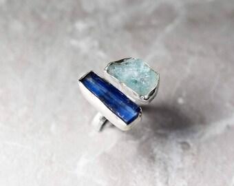 925 silver rough Kyanite & Aquamarine Ring