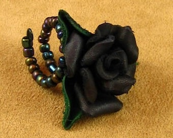 Black Leather Rose Ring
