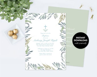 Customizable Text Baptism Invitation, Boys Baptism, DIY Invite, Twins Greenery Baptism Invitation, Editable Template Invite Botanical Leaf