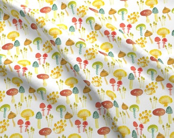 Colorful Mushroom Fabric - Fairy Mushrooms By Ruth_Robson - Woodland Watercolor Mushroom Cotton Fabric By The Yard With Spoonflower