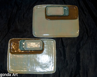 Tableware set of handmade ceramics, board with three dishes