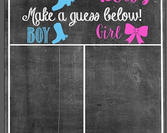 Boots or Bows! Gender Reveal Guessing Board
