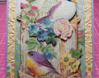 Handmade All Occasion Card, Birds, Flowers