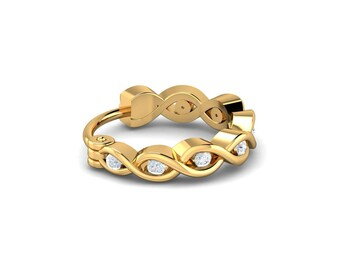 KuberBox Isabel Interwoven Nose Ring 18K White Gold SI-HI Certified Diamonds