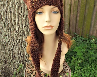Brown Knit Hat Brown Womens Hat - Brown Ear Flap Cat Hat Sequoia Brown Knit Hat - Brown Hat Brown Beanie Womens Accessories