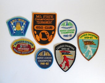 Set of 7 Vintage 1960's and 1980's Bowling Championship Patches