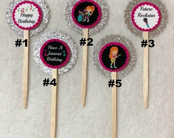 Set Of 12 Personalized Girl Rockstar Red Hair  Birthday Party  Cupcake Toppers (Your Choice Of Any 12, Can Be Mixed)