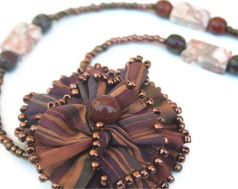 Beaded Necklace with  Fabric Flower Pendant - Rustic Copper Brown Jewelry, Fiber Art Flower, Statement Necklace, One of a Kind, Boho Chic