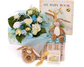 Gift basket baby boy Guess How Much I Love You baby gift, baby bouquet gift basket baby boy gift idea new parents gift baby clothing gift