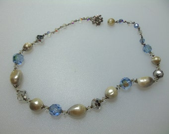Vintage Blue and Clear Aurora Borealis Bead and Faux Pearl Strand Silver Tone Necklace Marked Vendome