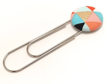 Giant Paper Clip Fabric Button Bookmark - Gold Triangle