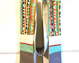 Flannel lined Patchwork Scarf - aqua red mustard triangles