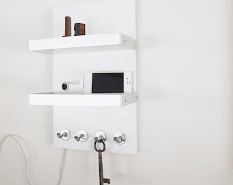 IPHONE DOCKING STATION: Modern Wooden Wall Mount Unit With Hooks And Metal  Details For Home
