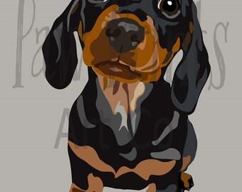 Mini Dachshund Puppy Dog Art Print
