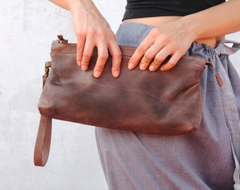 Brown leather clutch, big leather clutch, brown clutch, leather clutch, handbag clutch, evening handbag, for her, handmade leather bag