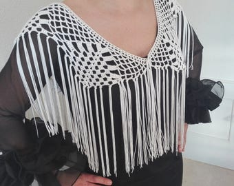 Flemish fringes, crochet blonde, cuquillo fringes, fringes for dress or blouse, flamenco fashion, mother's Day