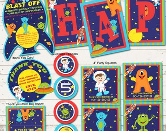 Outer Space Birthday Party - Astronauts, Rockets & Aliens - Out of this World - BLAST OFF Space Party Pack - Custom, Printable Designs
