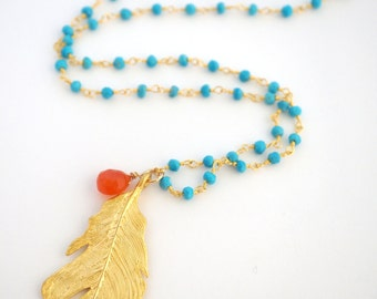 Long Gold Feather Necklace, Feather Pendant Necklace, Beaded Turquoise Necklace, Rosary Chain Necklace, Turquoise Chain Necklace