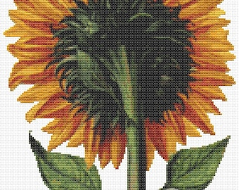 Floral Cross Stitch Chart, Sunflower Seen from the Back Cross Stitch Pattern PDF, Art Cross Stitch, Daniel Froesch, Embroidery Chart