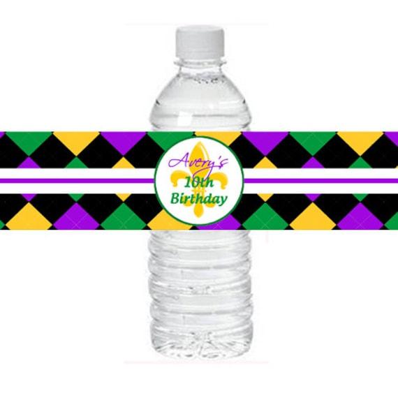 Personalized Mardi Gras Water Labels Printable Mardi Gras