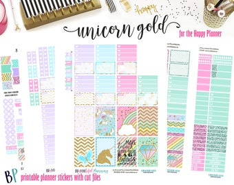 Unicorn Gold | Weekly Printable Planner Kit | Planner Stickers | Cut Line Files | for use with Happy Planner | Planner Stickers Printables