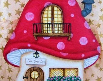 Dew Drop Inn Red Mushroom House Ornament, Red Mushroom House, Fairy House Ornament, Fairytale, Mushroom Village, Hand Painted Wood Ornament