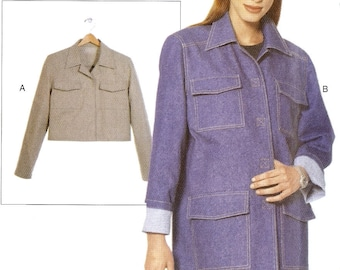 PATTERN Vogue 7005 Jacket or coat longline or cropped All sizes 6-22 XS-S-M-L-Xl