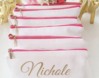 Personalized Monogram Makeup Cosmetic Bag SET OF 6 - Makeup Bag, Custom Cosmetic Bag, Personalised toiletry bag