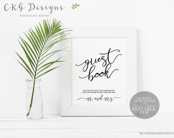 Guest Book Sign Instant Download, Editable Wedding Guest Book Instant Download Wedding Guest Book Editable, Wedding Guest Book Editable Sign