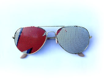 David Bowie Aladdin Sane Bolt Graphic Aviator Sunglasses