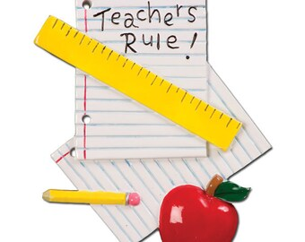 Teachers Rule Personalized Christmas Ornament
