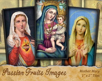 Virgin Mary Domino Tiles Digital Collage Sheet-- Instant Download