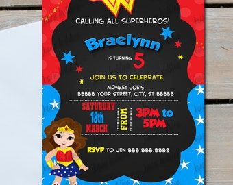 Wonder woman birthday party invitations, 5x7, printed or digital file