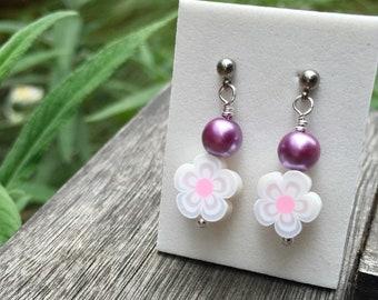 Titanium ball post flower earrings - white flower dangle earrings for girls - hypoallergenic earrings for sensitive ears