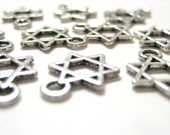 4pcs / 100pcs Silver Wholesale Star of David Charms - Magen Shield Hanukkah Charms - Hanukkah Beads - Jewish Religious Symbol