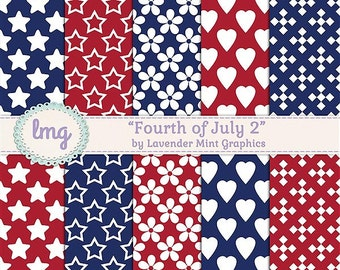 Patriotic Digital Scrapbook Papers, Fourth of July, Red White Blue, Stars and Stripes, Patriotic Papers, Instant Download, Commercial Use