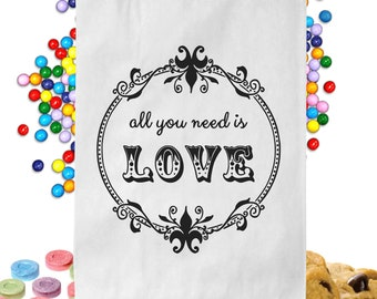 24  Personalized All You Need Is Love Candy Table Treat Bags Wedding Favor Bags