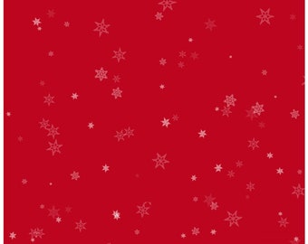 Holiday Wishes Red Tiny Snowflakes Christmas Fabric by Jan Shade Beach New 2018 Christmas Sold By the Half Yard in One Continuous Cut