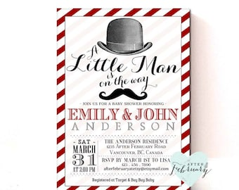 Little Man Baby Shower Invitation Mustache Baby Shower Invitation Black and Red Christmas Baby Shower Printable OR Printed No.346BABY