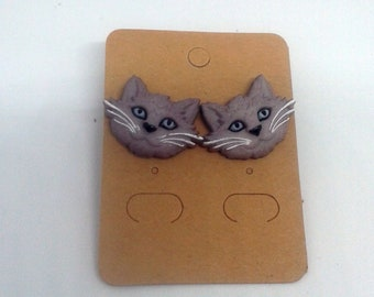 Whimsical Treasures-Fat Cat Faces!-Grey - Stud Earrings
