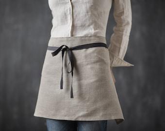 Linen Apron, Women Linen Apron, Half Linen Apron, Cafe Apron, Restaurant Apron, Natural Grey Linen