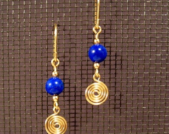 Gold-filled Lapis Lazuli Swirl Earrings