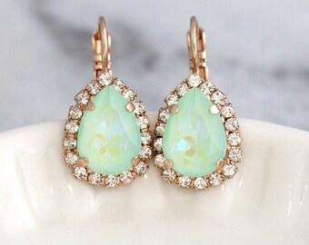 Mint Earrings, Mint Drop Earrings, Bridal Mint Earrings, Swarovski Drop Earrings, Christmas Gift, Sea Glass Wedding, Mint Opal Earrings